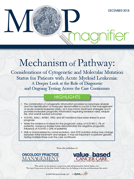 Mechanism of Pathway: Considerations of Cytogenetic and Molecular Mutation Status for Patients with Acute Myeloid Leukemia: A Deeper Look at the Role of Diagnosticand Ongoing Testing Across the Care Continuum
